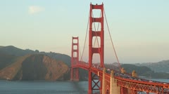 Golden Gate bridge in San Francisco sunset magic hour Stock Footage