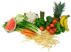 veggies and fruits arrangement - stock photo