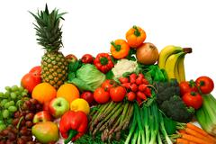 vegetables and fruits arrangement - stock photo