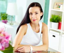 image of a lovely lady dressed in smart casual with a romantic look - stock photo