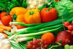 Vegetables and fruits arrangement 4 Stock Photos