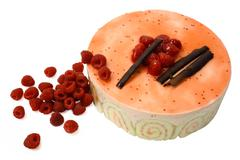 raspberry mousse cake 2 - stock photo
