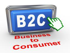 3d b2c - business to consumer button - stock illustration