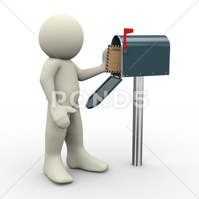 Stock Illustration of 3d man and mailbox