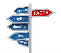 3d roadsign of facts vs lies wordcloud Stock Illustration