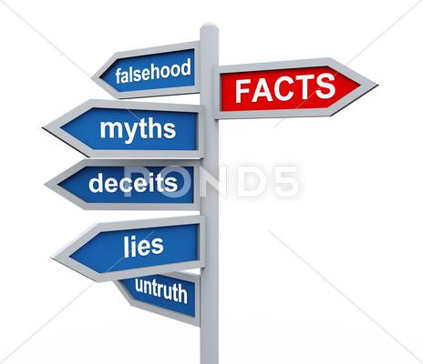 Stock Illustration of 3d roadsign of facts vs lies wordcloud