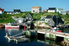 nova scotia fishing village - stock photo