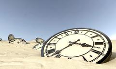 antique clocks in desert sand - stock illustration