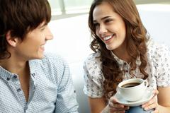 happy couple looking at each other with affection - stock photo