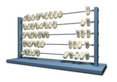 Bean counting abacus Stock Illustration
