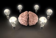 Brain and lightbulb imagination Stock Illustration