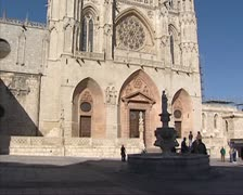 Burgos Cathedral tilt up western facade Stock Footage