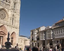 Square Plaza de San Fernando tilt up Burgos Cathedral Stock Footage