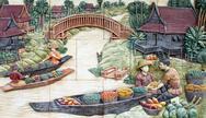 Native culture thai stucco on the temple wall, thailand Stock Photos