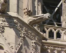Burgos Cathedral pan balcony western facade Stock Footage