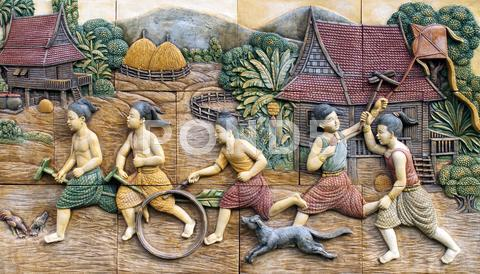 Stock photo of native culture thai stucco on the temple wall, thailand
