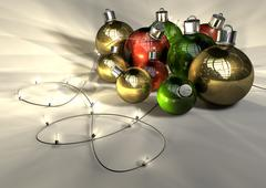 Christmas baubles and fairy lights Stock Illustration