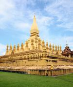 Golden pagada in pha-that luang temple, vientiane, travel in laos. Stock Photos