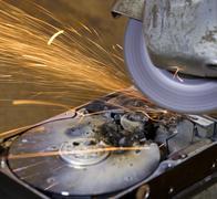 Hard disk grinding Stock Photos