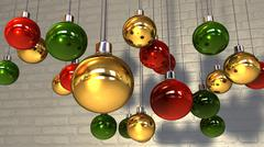 Gold read green christmas baubles hanging against a wall Stock Illustration