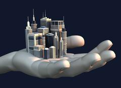 skyscraper city in the palm of a hand - stock illustration