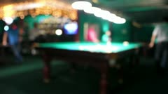 Playing russian billiard in a poolroom, defocused Stock Footage