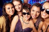 Stock Photo of close-up shot of group of partying girls having fun