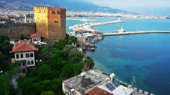 Kizil Kule - Red Tower, the symbol of Alanya, Turkey Stock Footage
