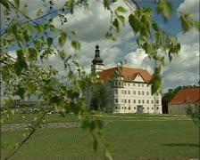 Hartheim castle in Austria wide dolly shot Stock Footage