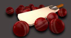 Stock Illustration of cricket bat and balls