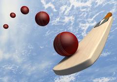 cricket bat with ball flight path - stock illustration