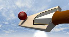 Stock Illustration of cricket bat striking ball