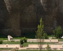 Astorga park tilt up city wall + Episcopal Palace of Astorga Stock Footage
