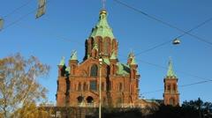 Scandinavia Finland Helsinki Russian orthodox Uspenski traffic Stock Footage