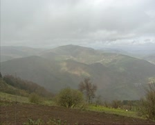Cloudy sky above Galician hills and mountain landscape Stock Footage