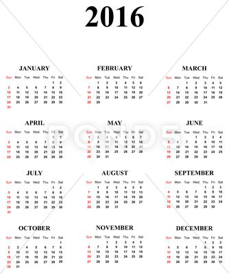 Stock Illustration of 2016 Calendar