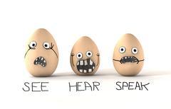 See hear speak no evil eggs Stock Illustration