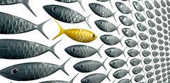 Fish school against the grain perspective Stock Illustration