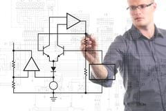 Electrical engineer drawing circuit diagram on the whiteboard Stock Illustration