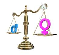 gender inequality balancing scale - stock illustration