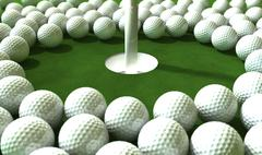 golf hole assault - stock illustration