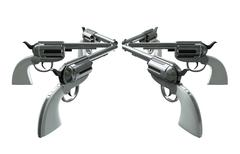 Handgun standoff Stock Illustration