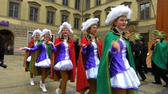 Germany Munich Carnival consumed girls dancing in street - stock footage
