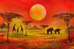 Picture with spray painted. africa Stock Illustration