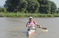 Top international paddler, jakub adam, prepares for the start of the unlimite Stock Photos