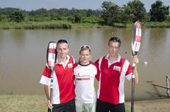 Top international paddlers, jakub adam, anna adamova and michael odvarko prep Stock Photos