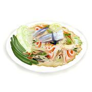 Thai Papaya Salad with freshwater crab. Stock Illustration