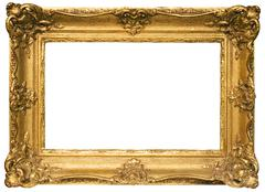 Gold Plated Wooden Picture Frame w/ Clipping Path Isolated on a White Background Stock Photos