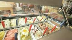 793. pan and tilt on an icecream Display window Stock Footage
