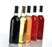 assortment of wine bottles - stock photo